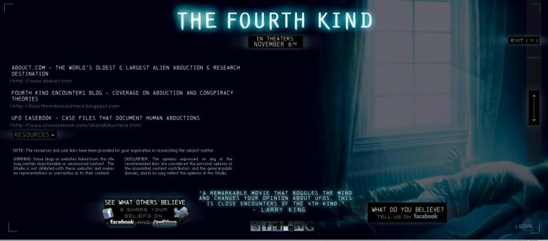 The Fourth Kind Movie with Abduct.com as a Resource