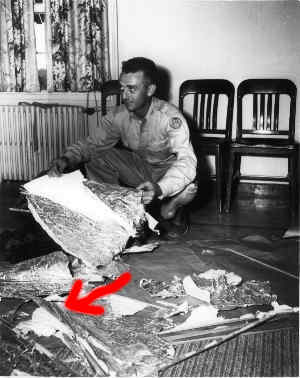 Major Jesse Marcel Sr. Holding Fragments of Crashed UFO Disk