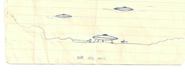 Drawing of UFO Landing