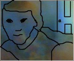 Picture of ghostly alien entity in bedroom drawn in